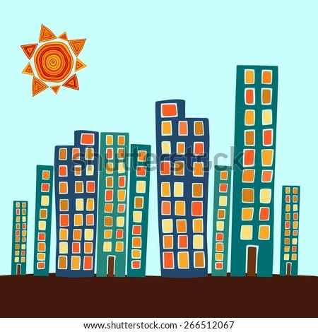 hand drawn colorful cityscape