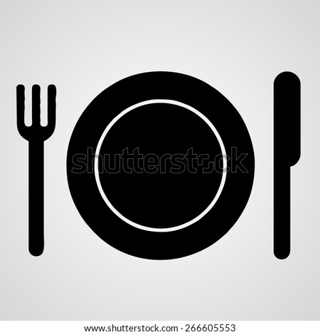 flat plate fork and knife icon