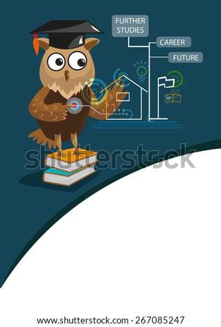 genius owl with graduation cap