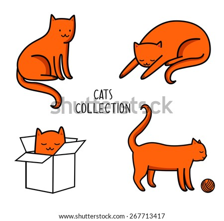 vector illustration of cats  in