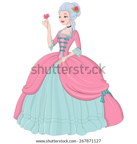 rococo lady in pink dress