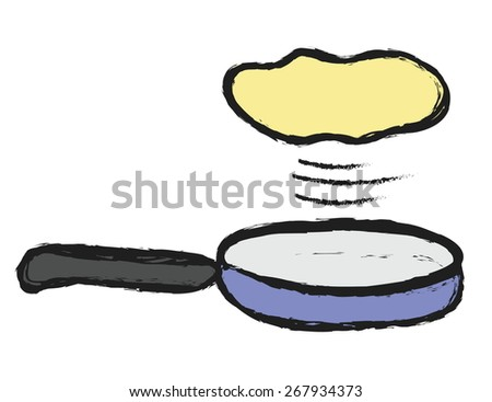 doodle frying pan with flying
