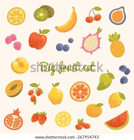 big colorful summer set of