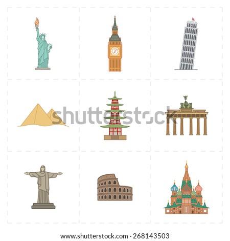 9 flat landmark icons