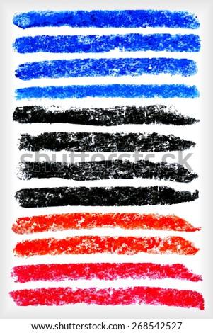 pastel crayons strokes set