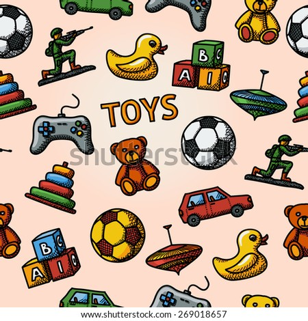seamless toys handdrawn pattern
