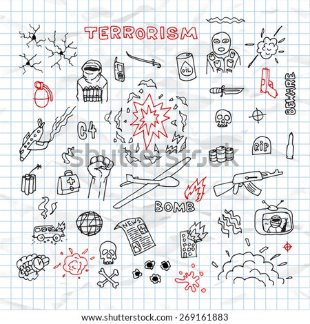 hand drawn terrorism doodles on