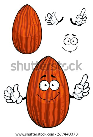 funny cartoon almond nut