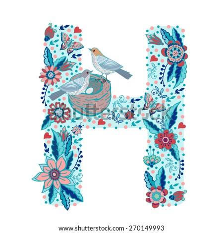 flower alphabet letter h