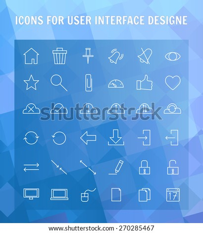 simple line icons set for user