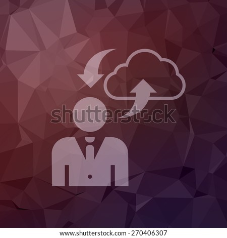 man with cloud upload and