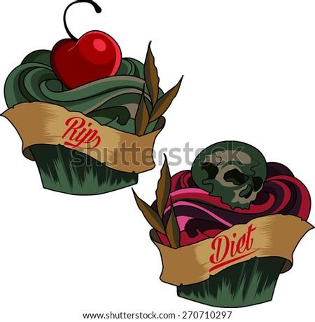 poison cupcake  death skull