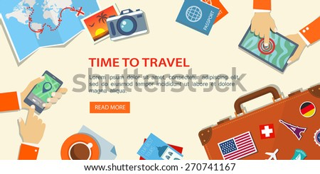 flat banner of travel planning