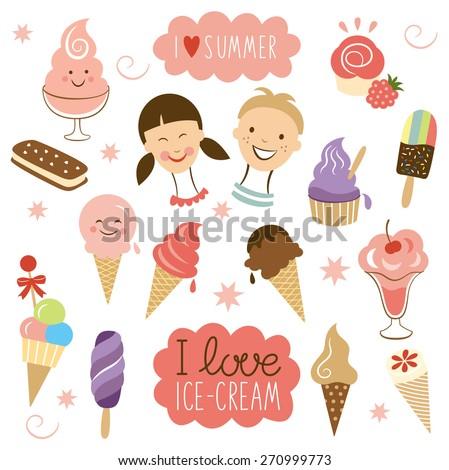 vector ice cream  sweet