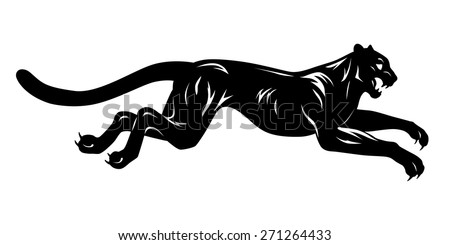 black and white running panther