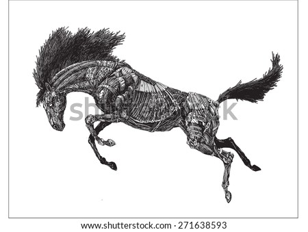 vector mechanized horse
