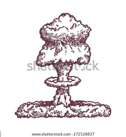 hand drawn mushroom cloud from