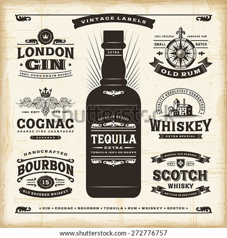 vintage alcohol labels