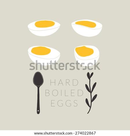 vector hard boiled eggs hand