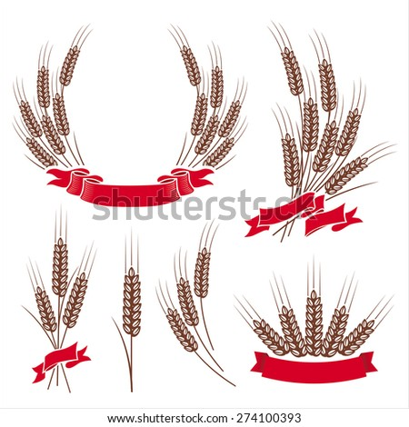 design elements with wheat ears