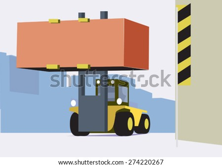 forklift carries a heavy load