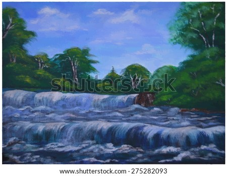 oil painting waterfall