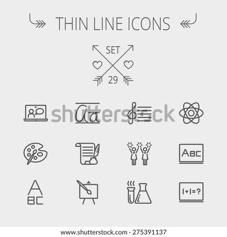 education thin line icon set