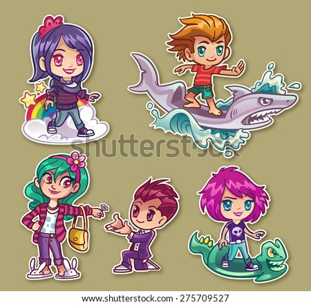 manga stickers of kids