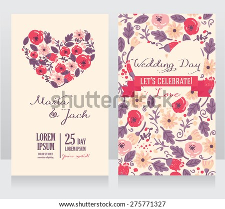 wedding cards with heart formed