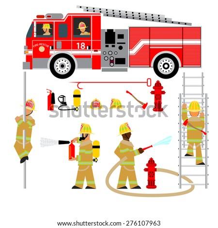 fire truck and fireman  fire