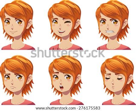 set of cartoon redhead girl