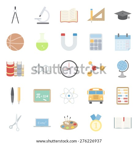 education and school color flat