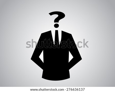 suit silhouette with question