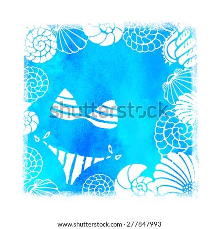 watercolor summer beach print