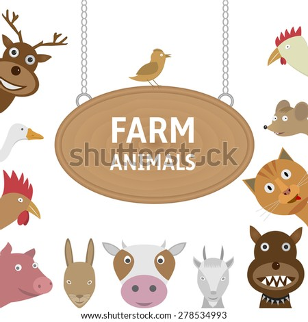 farm animals on the white