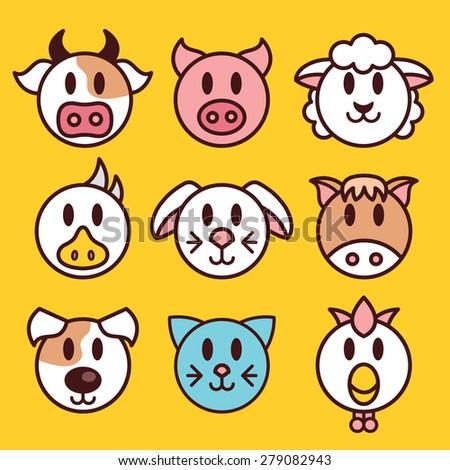 farm animals icons set funny
