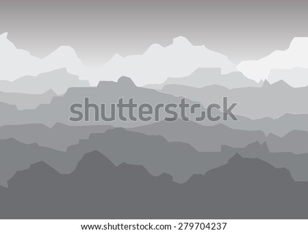 view of grayscale mountains