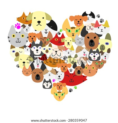 dogs and cats face in heart