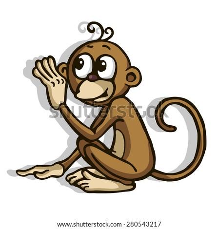 monkey raised her hand
