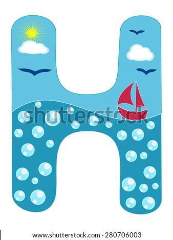 letter h sea summer wavy