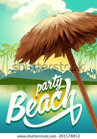 sunny vector poster beach party