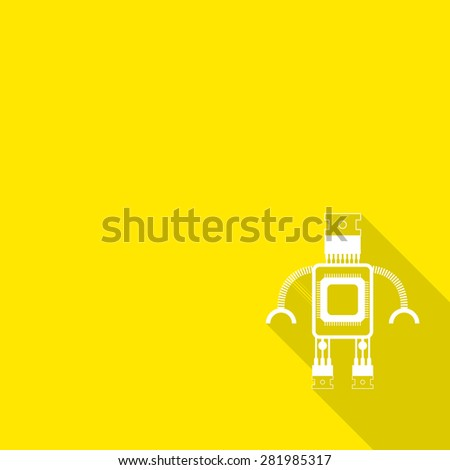 robot icon with long shadow