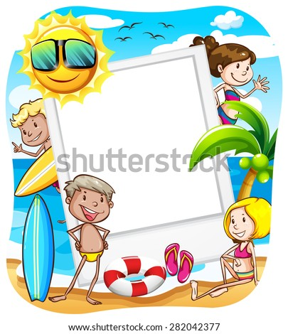 summer banner with people