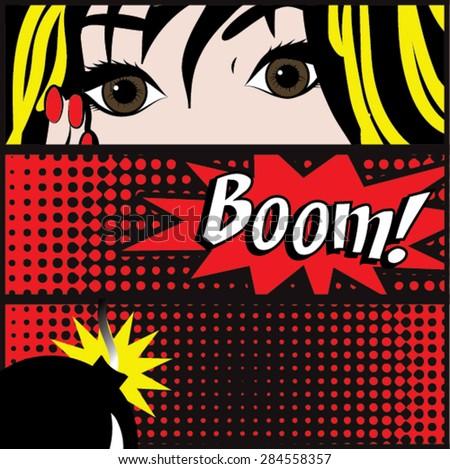 pop art boom card vector