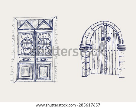 set of doodle doors  vector eps