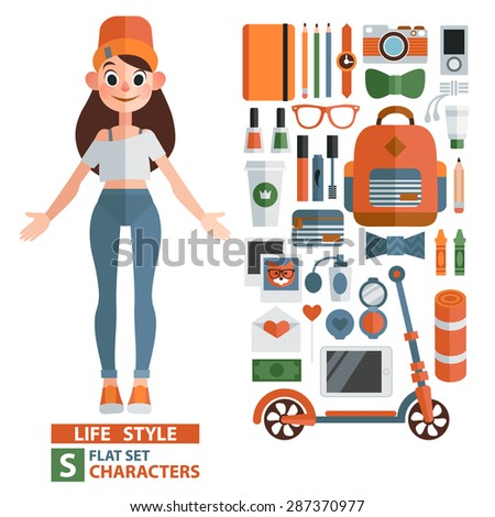 vector set of characters and