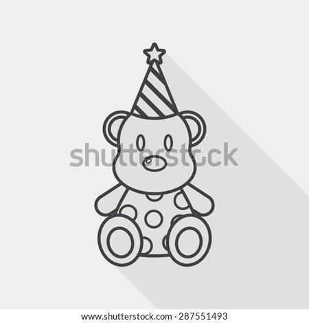 birthday teddy bear flat icon
