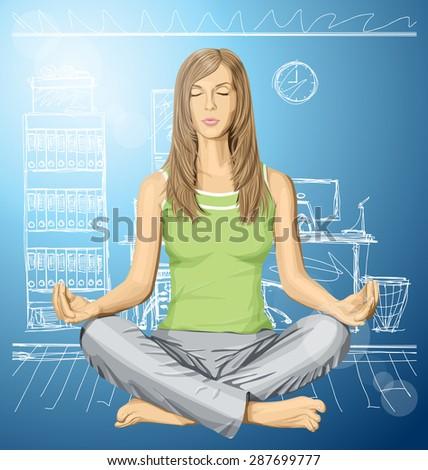 vector woman meditating in