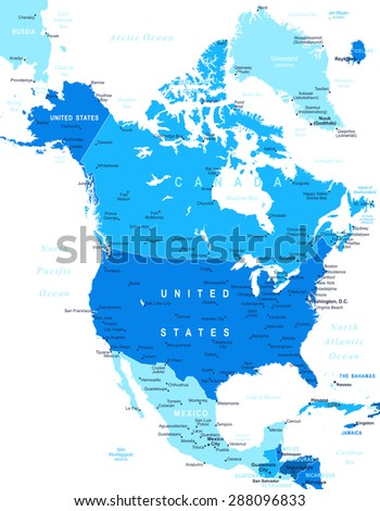 north america map   highly