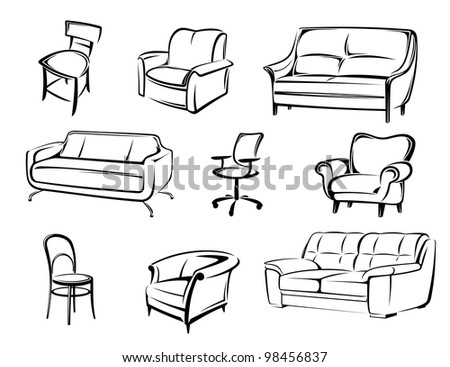 set of vector furniture objects